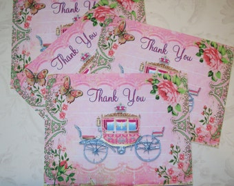 CARRIAGE – CINDERELLA - Pink - Elegant Thank you cards - Butterlies, Pink scrolls - Roses - Set of 6 notecards with envelopes - MB 127