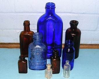 Instant Collection of 9 Antique Vintage Bottles -Blue-Amber Brown Bottles Squibb Lysol Milk of Magnesia Bottles