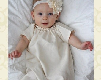 Antique Ivory baby baptism dress GOWN cotton simple SHILOH custom newborn to girls 6 unisex