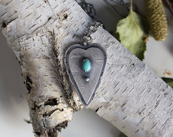 Heartwood....sterling silver, turquoise birch bark  pendant heart