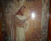 1942 Wooden Framed Picture of Jesus Standing At The Door Knocking Kriebel & Bates