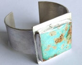 Royston Turquoise Cuff Bracelet - Modernist Cuff Bracelet - Minimal Turquoise Cuff - Statement Jewelry - Matte Finish Silver