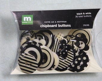Making Memories Cute as a Button Chipboard Buttons in Black and White