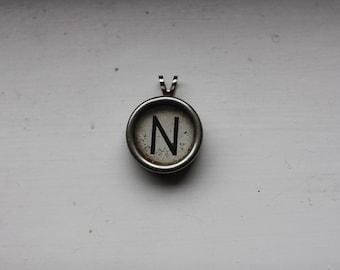 Typewriter Key Letter N Pendant on Ball Chain