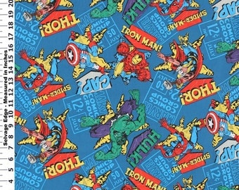 Marvel Comic Super Heroes Badge Blue Fabric By The Yard