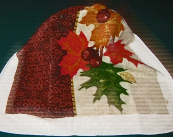 One Kitchen Crochet hanging towel Acorns and leaves, brown top