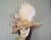 Tan and Ivory Kentucky Derby Hat, Preakness, Victorian, Belmont, Wide brim Hat, Ascot Downton Abbey, Edwardian