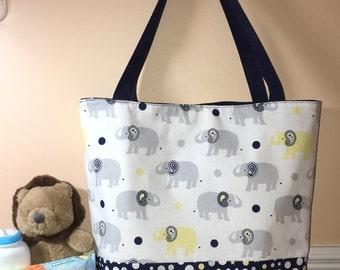 Handmade Baby Boy Diaper Tote Bag, Boys Diaper Bag, Elephant Diaper Bag, Baby Bag, Gift Idea, Tote Bag, Overnight Bag