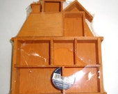 "Vintage Wood Shadow Box, House, Knick Knack Collectibles Shelf Display, Small, 6"" Tall, Crafting Supply, F.W. Woolworth Co.  (195-16)"