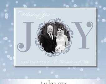Joy Wreath  - Holiday Photo Card - PRINTABLE
