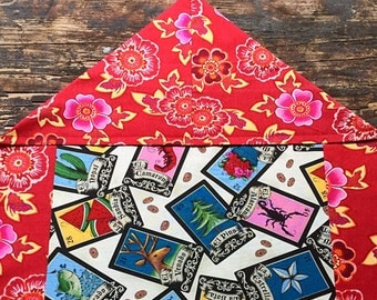 Mexican Tablecloth Table Runner Loteria Cards Red Pink Flowers Reversible