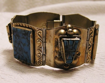 Vintage Mexican Silver Aztec God Panel Bracelet Marked with an Eagle Profile Over Initials AR 1960s to 70s Stones Turquoise Colored (J121)