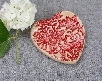 Heart Dish Wedding Favor in Stoneware with Red Glaze