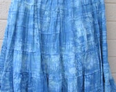 Tie dye  burnout dancing skirt blue
