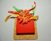Mini  note pad holder, sticky notes holder, note pad holder, note pad, desk pad, orange and yellow,  desk, pad, desk pad holder