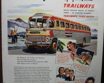 "Trav-B ... 109   "" Trailways Bus System ...""  Magazine Ad - February 1950"