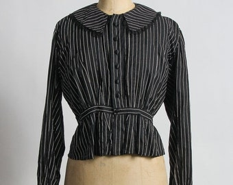 ON SALE Antique Pin Stripe Blouse . 1910s Shirt
