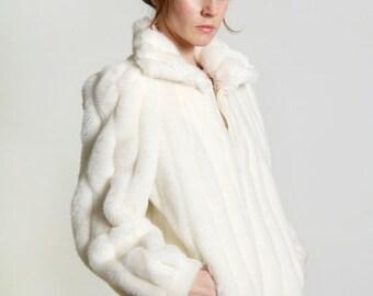 ON SALE Faux Fur Coat . Vintage White Jordache Jacket