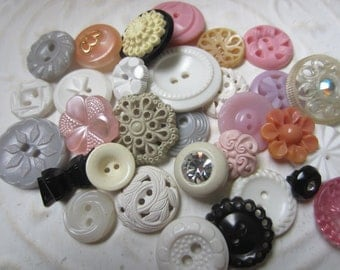 Vintage Buttons - Cottage chic mix of pink, grey, black and white lot of 31, old and sweet( july 17)