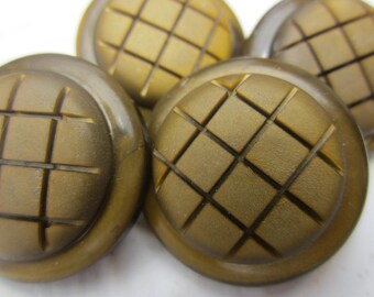 Vintage Buttons - 4 large 1 inch matching olive color scored criss cross textured design(july 9)