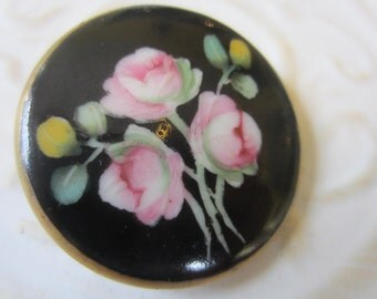 Vintage Cottage Chic 1 extra large Porcelain hand painted rose flower with gold rim, black background stud back button(oct 3b )