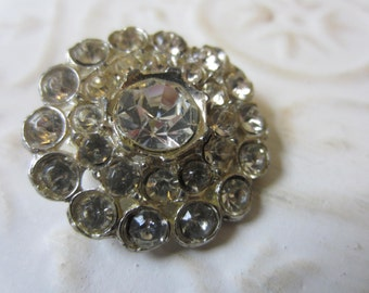 Vintage Button -  1 extra large beautiful flower design,antique finish metal, rhinestone embellished, 1950's (lot OCT8B