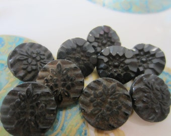 Vintage Buttons -  beautiful lot of 9, 2 sets matching small Victorian jet black glass, pressed designs, very old (jan 29b)