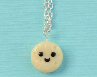 Polymer Clay Full Moon Charm Necklace