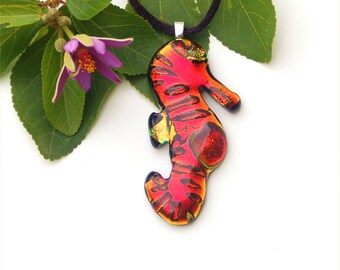Fused dichroic glass pendant, cranberry red seahorse