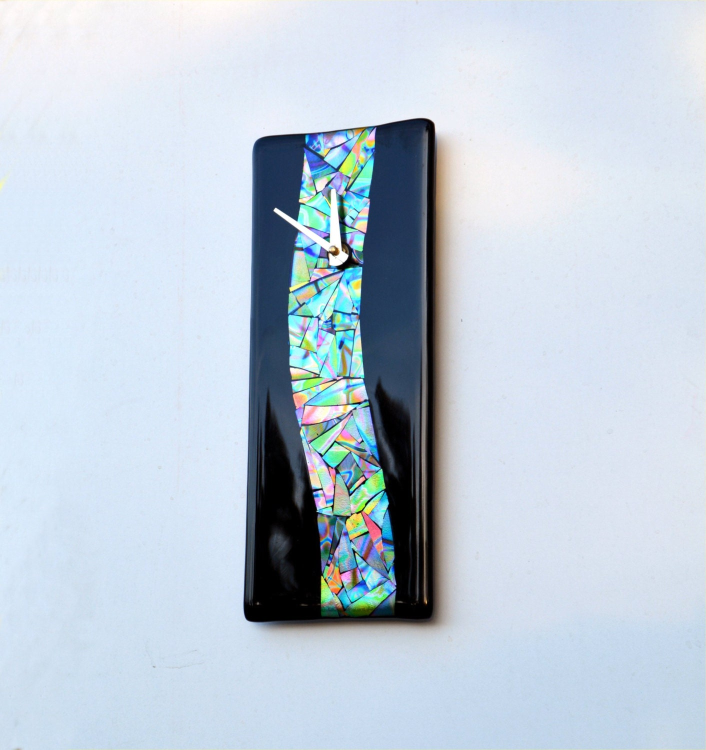 wall clock fused dichroic glass wave rectangle multi