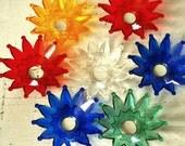Set of Christmas Light Reflectors Retro Acrylic Plastic Fun Bright Colorful Merry Flower Sunburst Large