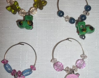 Wine Glass Charms, Set of 4 : Tractors & Pigs