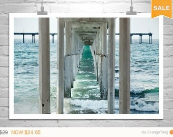 Sale 15% Ocean Art, Beach Art, San Diego, Black and White Photography, California Beach, Ocean Beach Pier, Fine Art Photography