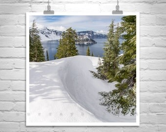Crater Lake Art, Oregon Picture, Snowy Mountain Photo, Oregon Photographs, Winter Art, Mountain Landscape, Lake Pictures, Forest Art