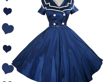 New Sailor Dress Navy Blue White USO Pinup Full Skirt Swing Dress S M L Xl Xxl 1X 2X Plus Rockabilly Party Sailor Collar Short Sleeves