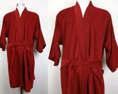Vintage Marshall Field & Company Burgundy Velour Robe Mens XL