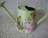 Watering Can Hand Painted Pink Roses Yellow Birds Decorative Home Accent