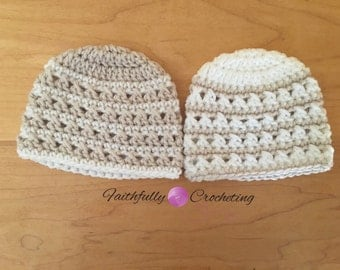 Newborn twin boy hats.. Twin beanies... Photography prop.. Everyday beanie... Ready to ship