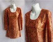 Vintage 70s Dress Size S Snakeskin Mini Gogo Disco Glam Rock Tunic Boho 80s