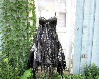M-L OOAK Black Gypsy Bohemian Bustier Corset Dress// Reconstructed// Raw Tattered// emmevielle