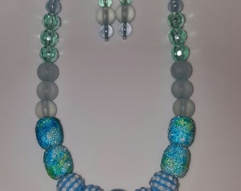 Chunky Blue & Green Color Block Necklace and Earring Set - VIntage Recycle - OOAK