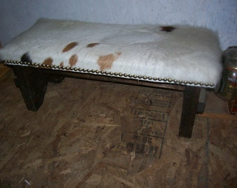 Cowhide covered bench- NEW!