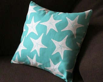 "Home Decor Cotton Fabric-Aqua with White Starfish; fits 16"" by 16"" pillow form.  Envelope style cover; machine washable"