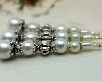 Vintge Style White Pearl Large Long Pendant, Dangle, Earring, Jewelry Pendant, Necklace Pendant