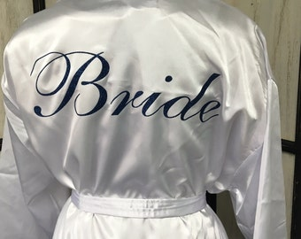 Monogrammed Satin Robe, Front and Back Design, Bridesmaid Satin Robe, Bride Robe, Personalized Satin Robe, Bridesmaids Gift, Wedding Robe