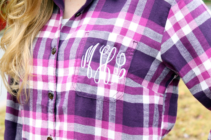 monogrammed plaid flannel shirt sangria personalized