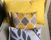 Yellow, Taupe, Gray, and White - Set of 3 Doll Pillows