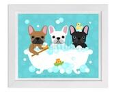 96D - Bath Print - Three French Bulldogs in Bubble Bath Wall Art - Bathroom Wall Decor - Dog Print - Dog Lover Gift - French Bulldog Print