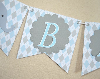 Elephant Baby Banner for a Boy, Argyle, Blue, Grey, Bunting