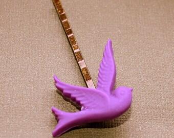 Purple Bird Bobby Pins - Acrylic Cabochon Hair Pins